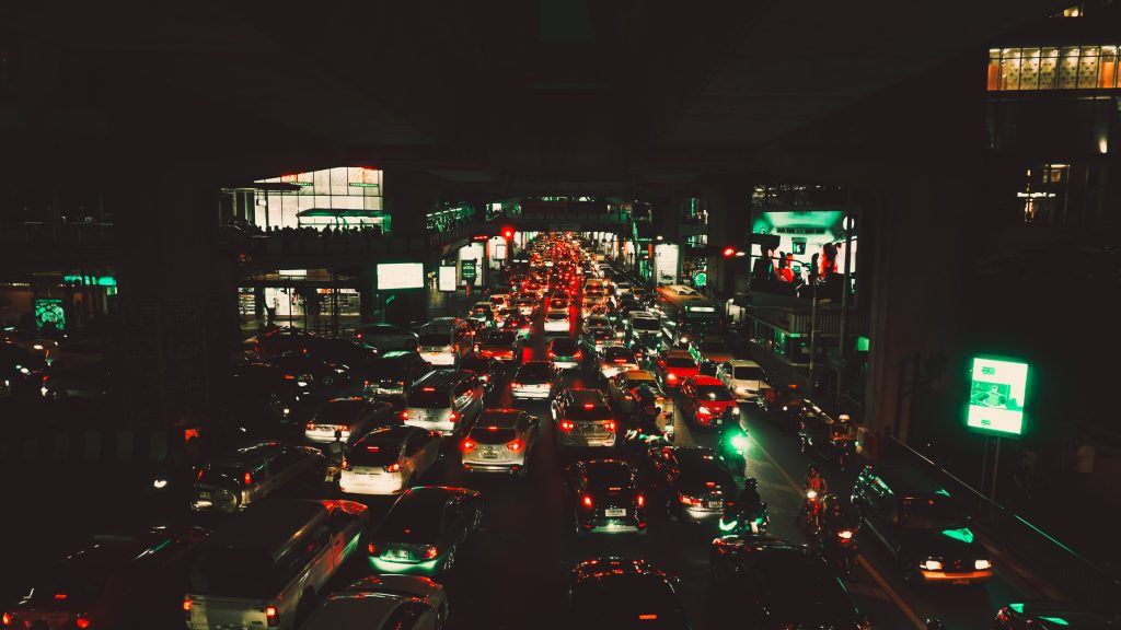 trafic, voiture, route, nuit